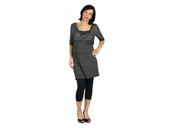 Těhotenské šaty Rialto ze stříbrného lurexu pro slavnostnější příležitosti