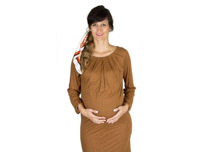 Tehotenské šaty Rialto Laringe škoricové 0453
