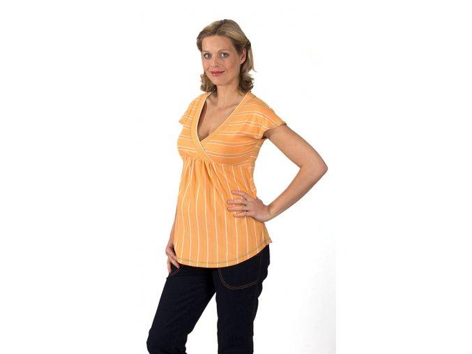 Těhotenské tričko RIALTO DONCOLS oranžové pruhy 7816 (Dámská velikost 46)