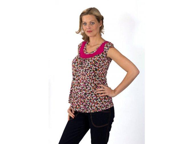 Těhotenské tričko RIALTO REMICH růžový puntík 0257 (Dámská velikost 48)