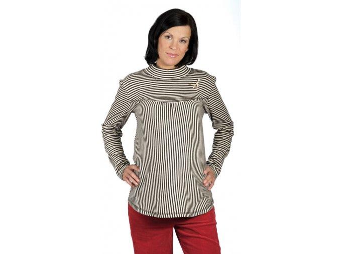 Těhotenské tričko RIALTO REMY béžovo-hnědé 0159 (Dámská velikost 46)