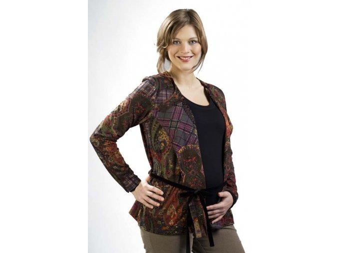 Lehký těhotenský svetřík z pevnějšího úpletu s výrazným sametovým potiskem.