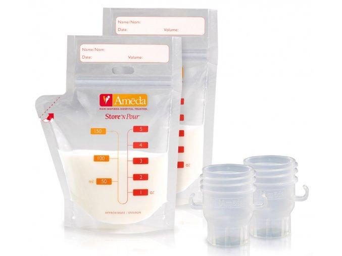 Sada sáčkov na materské mlieko 20 ks a adaptéry do odsávačky 2ks