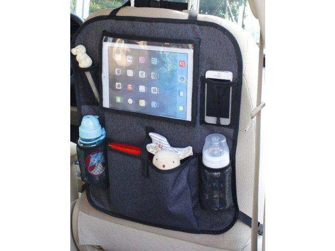 Vreckár do auta s vreckom na tablet, Luxury Grey