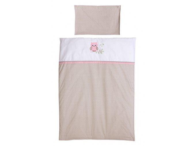 Povlečenie pre postieľku ružová sovička, béžová bodka