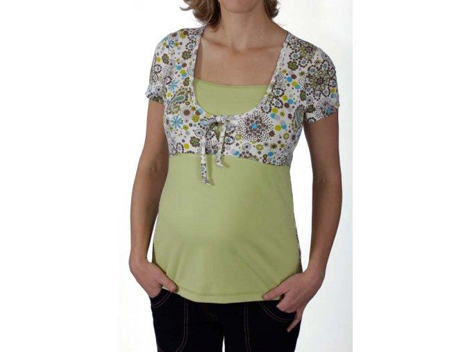 Těhotenské a kojící tričko RIALTO DUVY bílá-tisk 0185 (Dámská velikost 46)