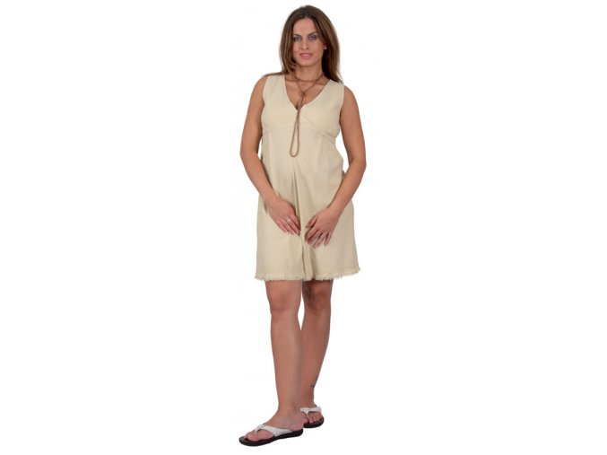 Těhotenské lněné šaty.