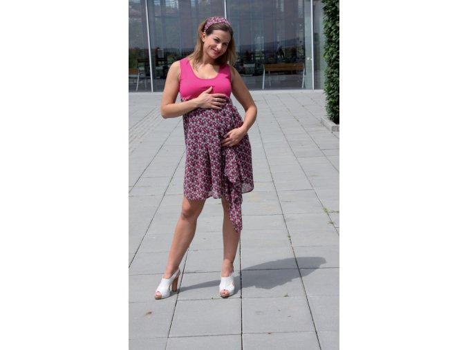 TĚHOTENSKÉ ŠATY RIALTO LUGNY růžové 0211 (Dámská velikost 46)