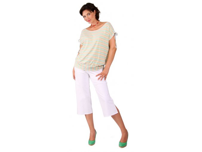 Tehotenské tričko Rialto Divion zelené pruhy 0266