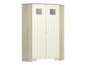 Rohová skříň využívá hluchý prostor v rozích a je ozdobou dětského pokoje KAMILLA TOSCANA