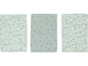 Sada tří tyrkysových hydrofilních mycích žínek Bébé-Jou Fabulous Paper Planes