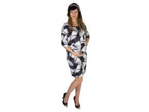 Tehotenské šaty Rialto Lunna, motív čiernobiele vejáre 0615
