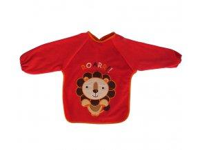 Červený bryndáček s rukávy a velkou aplikací se lvem