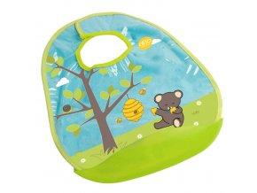 Bryndáček s korýtkem dokonale chrání oděv dítěte. Motiv medvídka