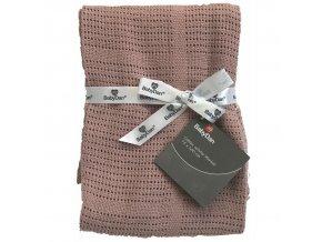 Dětská háčkovaná bavlněná deka Babydan Dusty Rose, 75x100cm