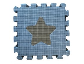 Penová hracia podložka puzzle Geometrické tvary, Blue 90x90 cm