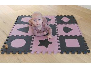 Penová hracia podložka puzzle Geometrické tvary, Rose 90x90 cm