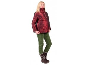 Velmi pěkná těhotenská bunda ozdobená vzorem růží.