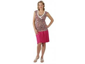 Těhotenské a kojící tričko RIALTO DERY růžový puntík 0257 (Dámská velikost 46)