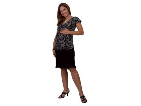Těhotenské tričko RIALTO DONCOLS černá květ 0178 (Dámská velikost 46)