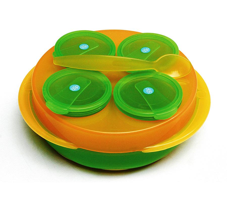 dBb Remond Dbb Baby Snack, sada 4 Misiek, tanier, Lyžica Barva: Oranžovo/Zelená