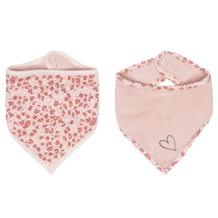 Bebe-Jou Bandana slintáčik Bébé-Jou Leopard Pink 2 ks