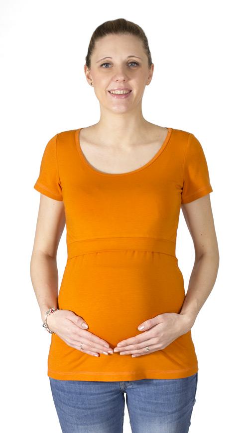 Dojčiace a tehotenské tričko Z Modalu Rialto Delies, Oranžová 0639 Dámská veľkosť: 36