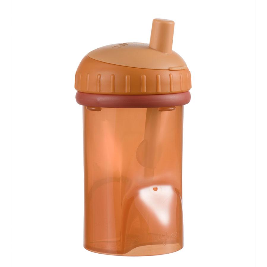 Detský hrnček so slamkou Difrax, tehlová, 250 ml