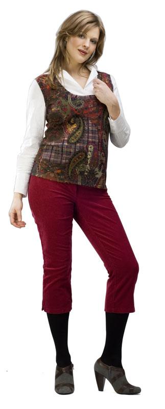 3/4 menčestrové nohavice Rialto Sissy Vínové 19132 Dámská veľkosť: 38