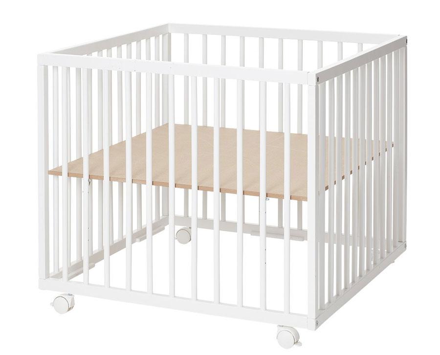 Baby Dan drevená ohrádka Comfort Medium White, 79 × 79 × 73 cm