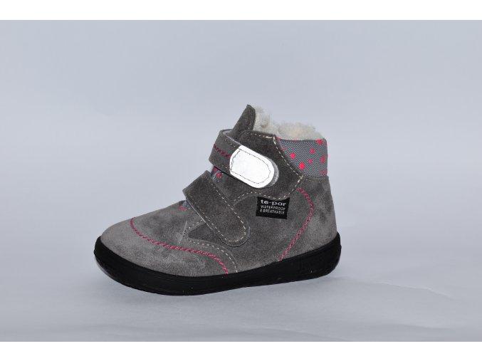 Jonap B5 zimní s membránou - šedá/růžové tečky