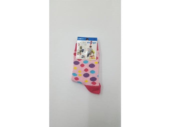 Dětské ponožky s puntíky - růžové