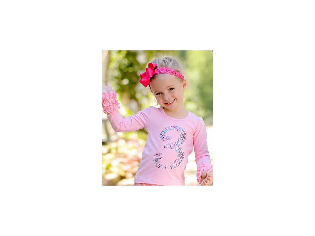 RuffleButts - Pink Birthday Ruffled tričko