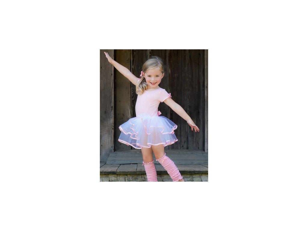 RuffleButts - Pink & White Tutu Leotard body so sukničkou
