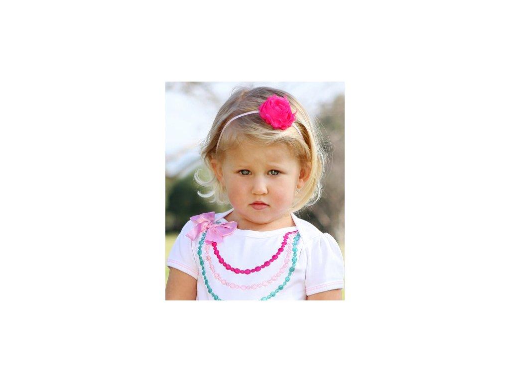 RuffleButts - Pink, White, Rosette 3-Pc Set Headbands - 3 ks set čelenky