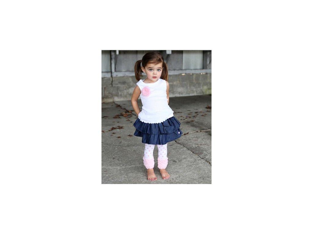 RuffleButts - White w/Pink Flower Tank Top tričko