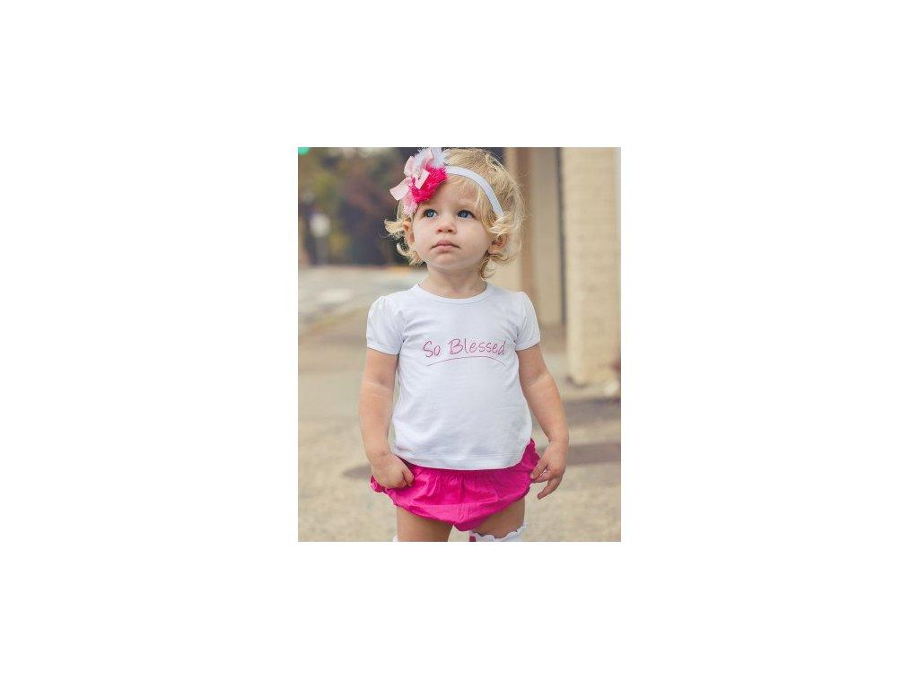 RuffleButts - White So Blessed Angel Knit Lap Tee tričko