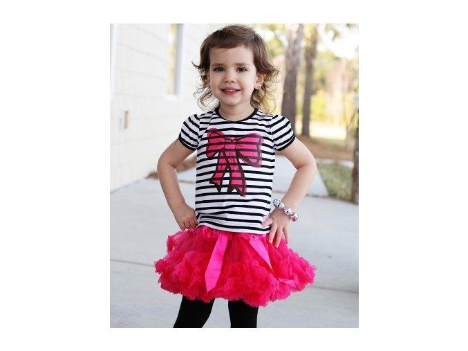 RuffleButts - Black/White Stripe Bow tričko