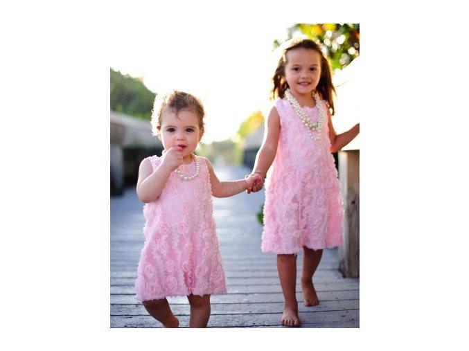 RuffleButts - Pink-Peachy Flower šaty