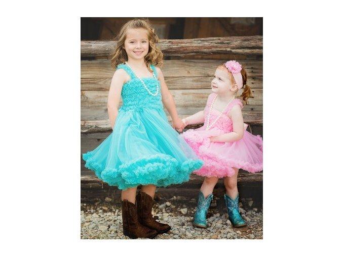 RuffleButts - Aqua Princess Petti Dress šaty