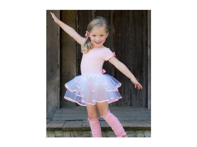 RuffleButts - Pink & White Tutu Leotard body so sukničkou