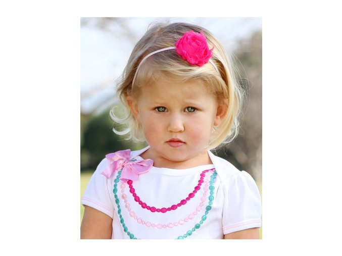 RuffleButts - Pink, White, Rosette 3-Pc Set Headbands - 3 ks set čelenky