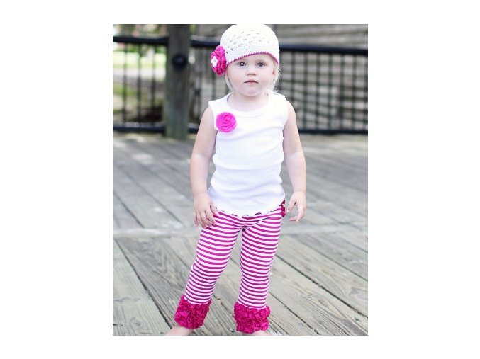 RuffleButts - Fuchsia Striped Stretch Pant legíny