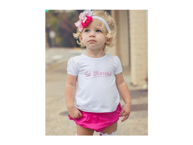 RuffleButts - White So Blessed Angel Knit Lap Tee tričko