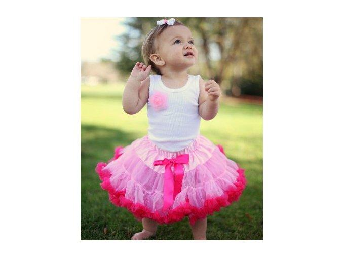 RuffleButts - Pink w/Candy Trim Petti sukňa