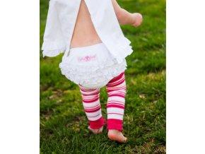 RuffleButts - Fuchsia 3 Stripe Legwear návleky na nohy