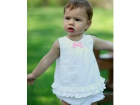 RuffleButts - White Ruffled Swing Top