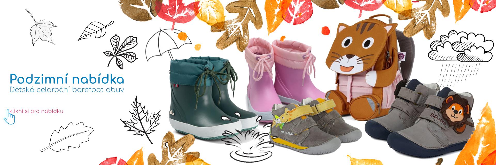 Podzimní nabídka celoroční dětské barefoot obuvi