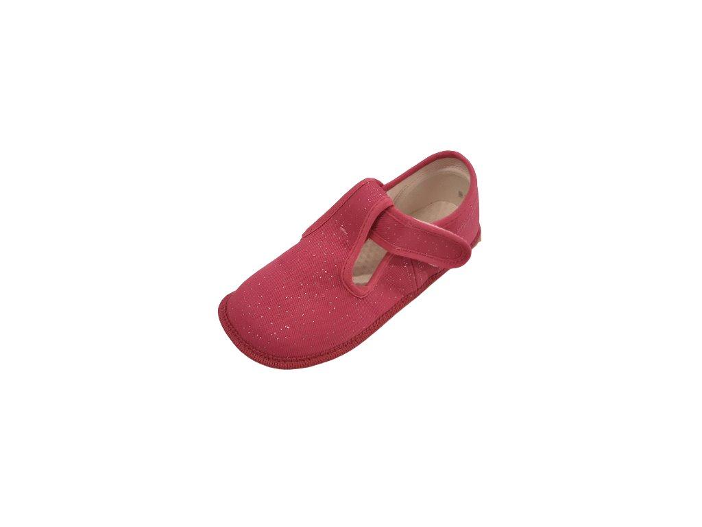 Beda barefoot přezůvky široké růžová třpytka 060010/W