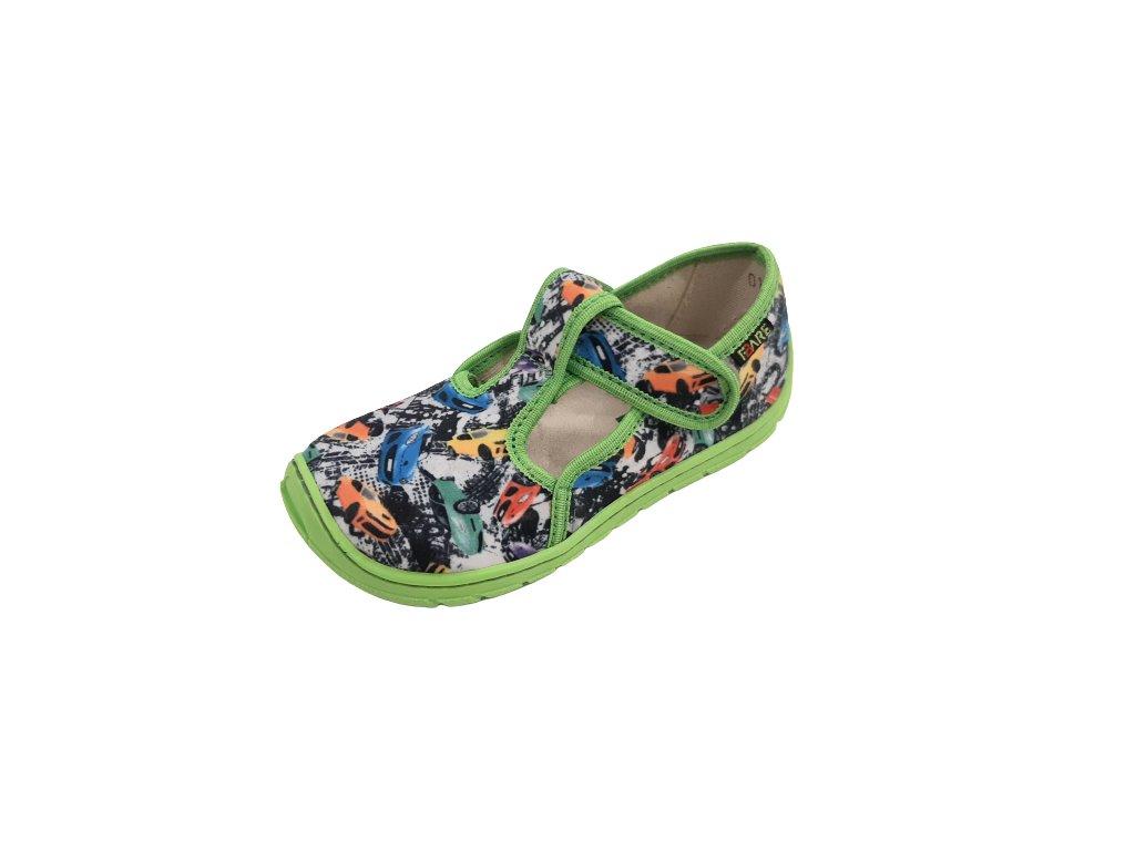Fare Bare dětské barefoot přezůvky AUTA na suchý zip 5202432
